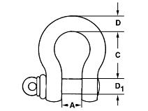 Gunnebo H–sjakkel m/skrubolt galvanisert