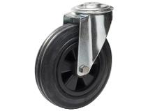 Transporthjul type 4O BRU/PP stålbøyle svart gummibane Swede–Wheel