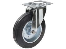 Transporthjul type 4P BRU/SP stålbøyle svart gummibane Swede–Wheel
