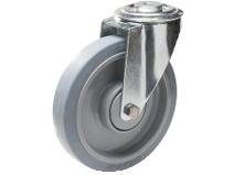 Styrehjul type 4O Elastic GRU/PA6 stålbøyle elastisk grå gummibane Swede–Wheel