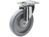 Styrehjul type 4P Elastic GRU/PA6 stålbøyle elastisk grå gummibane Swede–Wheel