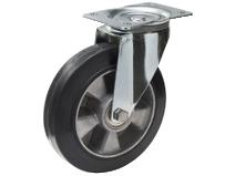 Styrehjul type 4P Elastic BRU/AL stålbøyle elastisk svart gummibane Swede–Wheel