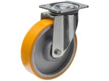 Styrehjul type 8P PU/CI stålbøyle støpt PU–bane Swede–Wheel