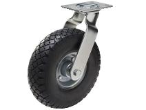 Styrehjul type PN PU FOAM stålbøyle elastisk svart gummibane Swede–Wheel