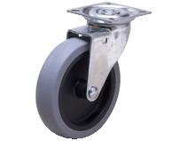 Styrehjul A2P TPE–P grå gummibane Swede–Wheel