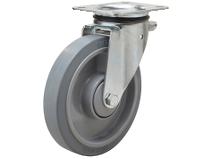 Styrehjul type 5P Elastic GRU/PA6 stålbøyle elastisk grå gummibane Swede–Wheel