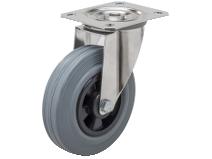 Länkhjul Typ 4PS GRU/PP rostfri plåtbygel grå gummibana Swede–Wheel
