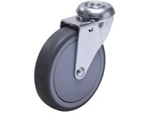 Styrehjul type AO TPE–B stålbøyle grå gummibane Swede–Wheel