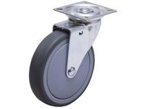 Styrehjul type AP TPE–B stålbøyle grå gummibane Swede–Wheel