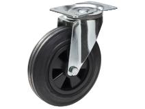 Transporthjul type 4P BRU/PP stålbøyle svart gummibane Swede–Wheel