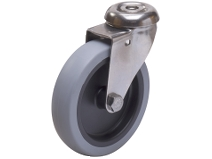Länkhjul Typ A2OS TPE rostfri plåtbygel grå gummibana Swede–Wheel