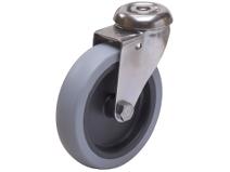 Styrehjul type A2OS TPE rustfri stålbøyle grå gummibane Swede–Wheel