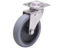 Länkhjul Typ A2PS TPE rostfri plåtbygel grå gummibana Swede–Wheel