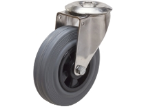 Länkhjul Typ 4OS GRU/PP rostfri plåtbygel grå gummibana Swede–Wheel