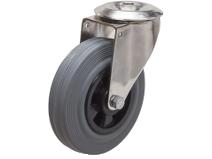 Styrehjul type 4OS GRU/PP rustfri stålbøyle grå gummibane Swede–Wheel