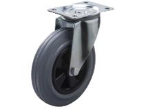 Styrehjul type 4P GRU/PP stålbøyle grå gummibane Swede–Wheel