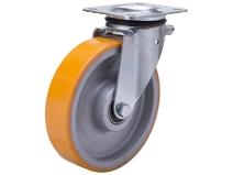 Styrehjul type 5P PU/CI stålbøyle støpt PU–bane Swede–Wheel
